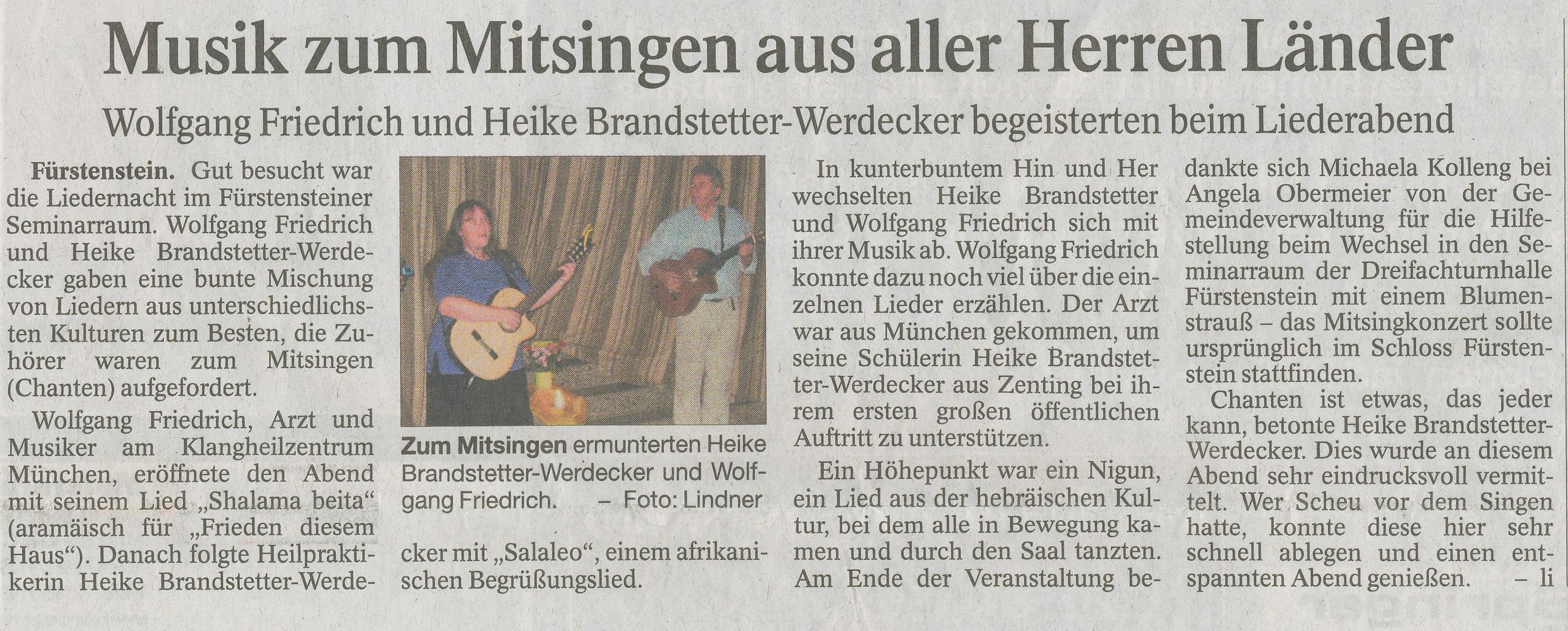 Artikel in der PNP Chanten in Fürstenstein am 05.10.2013